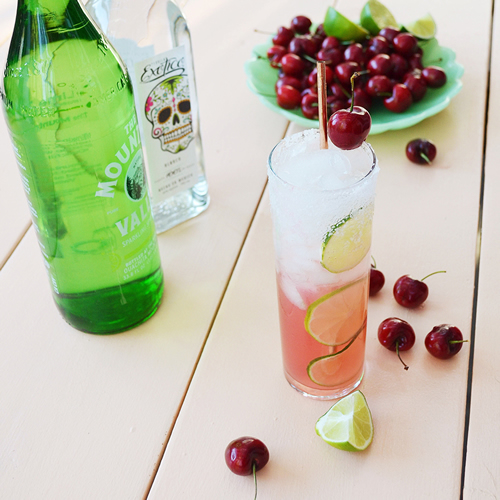 Drinking with Chickens - Cherry Lime Tequila Cocktail